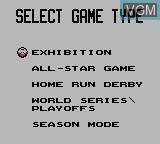 Menu screen of the game Ken Griffey Jr. Presents Major League Baseball on Nintendo Game Boy
