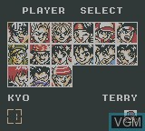 Menu screen of the game King of Fighters '95, The on Nintendo Game Boy