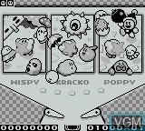 Menu screen of the game Kirby's Pinball Land on Nintendo Game Boy