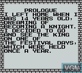 Menu screen of the game Knight Quest on Nintendo Game Boy