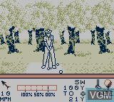 In-game screen of the game PGA Tour '96 on Nintendo Game Boy
