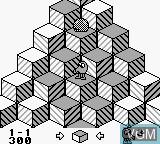 In-game screen of the game Q-bert II on Nintendo Game Boy