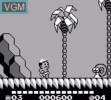 In-game screen of the game Adventure Island II on Nintendo Game Boy