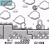 In-game screen of the game Kirby's Dream Land on Nintendo Game Boy