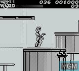 In-game screen of the game Wayne's World on Nintendo Game Boy