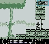 In-game screen of the game Castlevania - Legends on Nintendo Game Boy
