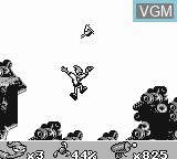 In-game screen of the game Earthworm Jim on Nintendo Game Boy