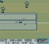 In-game screen of the game J.League Big Wave Soccer on Nintendo Game Boy