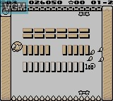 In-game screen of the game Kirby's Block Ball on Nintendo Game Boy