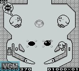 In-game screen of the game Kirby's Pinball Land on Nintendo Game Boy