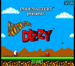 Title screen of the game Fantastic Dizzy on Sega Game Gear