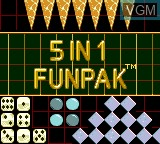 Title screen of the game 5 in 1 Funpak on Sega Game Gear