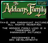 Title screen of the game Addams Family, The on Sega Game Gear