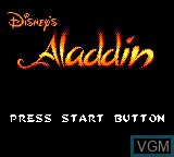 Title screen of the game Aladdin on Sega Game Gear