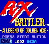 Title screen of the game Ax Battler - A Legend of Golden Axe on Sega Game Gear