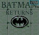 Title screen of the game Batman Returns on Sega Game Gear