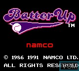 Title screen of the game Batter Up on Sega Game Gear