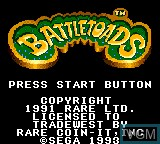 Title screen of the game Battletoads on Sega Game Gear