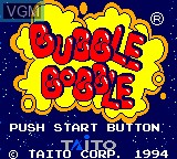 Title screen of the game Bubble Bobble on Sega Game Gear