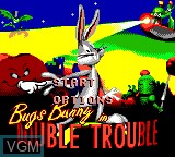 Title screen of the game Bugs Bunny in Double Trouble on Sega Game Gear