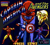 Title screen of the game Captain America and the Avengers on Sega Game Gear