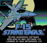 Title screen of the game F-15 Strike Eagle on Sega Game Gear