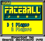 Title screen of the game Faceball 2000 on Sega Game Gear