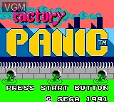 Title screen of the game Factory Panic on Sega Game Gear