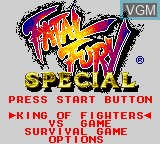 Title screen of the game Fatal Fury Special on Sega Game Gear