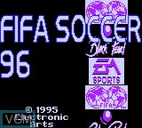 Title screen of the game FIFA Soccer 96 on Sega Game Gear