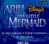 Title screen of the game Ariel - The Little Mermaid on Sega Game Gear