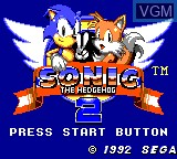 Title screen of the game Sonic The Hedgehog 2 on Sega Game Gear