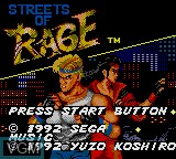 Title screen of the game Streets of Rage on Sega Game Gear
