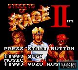 Title screen of the game Streets of Rage II on Sega Game Gear