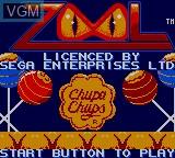Title screen of the game Zool on Sega Game Gear
