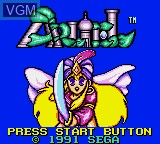 Title screen of the game Arliel - Crystal Densetsu on Sega Game Gear