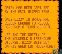 Menu screen of the game Fantastic Dizzy on Sega Game Gear