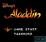 Menu screen of the game Aladdin on Sega Game Gear