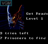 Menu screen of the game Alien 3 on Sega Game Gear
