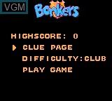 Menu screen of the game Bonkers Wax Up! on Sega Game Gear