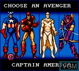 Menu screen of the game Captain America and the Avengers on Sega Game Gear