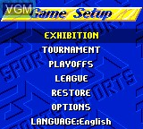 Menu screen of the game FIFA International Soccer on Sega Game Gear
