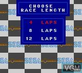 Menu screen of the game F-1 on Sega Game Gear