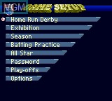 Menu screen of the game Frank Thomas Big Hurt Baseball on Sega Game Gear