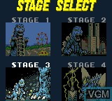 Menu screen of the game Godzilla - Kaiju Dai Shingeki on Sega Game Gear