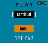 Menu screen of the game Zoop on Sega Game Gear
