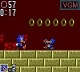 In-game screen of the game Sonic The Hedgehog 2 on Sega Game Gear