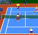 In-game screen of the game Andre Agassi Tennis on Sega Game Gear
