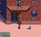 In-game screen of the game Captain America and the Avengers on Sega Game Gear
