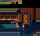 In-game screen of the game Streets of Rage II on Sega Game Gear